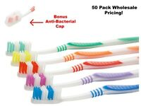 50 Pack Wholesale Toothbrush Individually Wrapped Classic Medium Soft With Cap