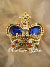 Russian Empress Alexandra Crown Brooch Pin Oval Sapphire gemstones gift box