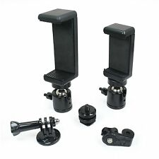 2x Locking Ball Head with 2 Phone Mounts (Md. & Lg) and Hot Shoe Adapter Setup