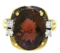 Heavy 18K gold 11.06CTW VS diamond/14.8 X 11.1mm Orange tourmaline cocktail ring