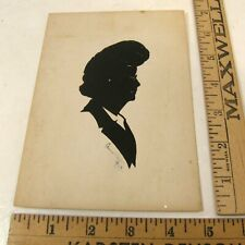 SIGNED 1943 CAREW RICE HAND CUT PAPER SILHOUETTE WOMAN WEARING EYEGLASSES