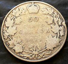 1911 Canada Silver 50 Cent Coin - 92.5% Silver Half Dollar - Key Date