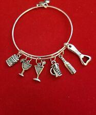 "Silver ""Bartender"" themed Charm Bracelet (wine, beer, mug, drink, martini)"
