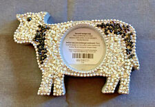 PIER 1 Beaded Wooden Votive Candle Holder COW Black & White. NWT