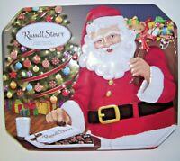 2001 Russell Stover Hinged Tin Box Santa Claus Design