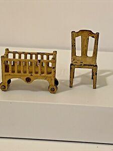 Vintage Dollhouse Furniture Die Cast Metal Kilgore Crib & Arcade Chair.