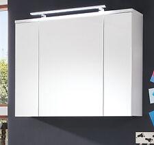Spiegelschrank Bad Weiß 3 Türig 3D Spiegel Schrank 100 Cm Opt. Beleuchtung  Adamo