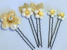 5 PIECE PEARL FLOWER HAIR PINS IN GOLD/SILVER BRIDE BRIDESMAID PROM WEDDING LOT