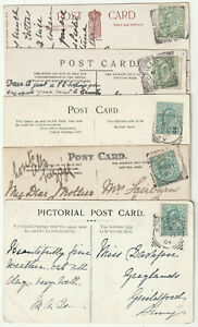 5x Sussex squared circle ROBERTSBRIDGE/LINDFIELD/ARUNDEL/LEWES/SEAFORD 1904-6 PC