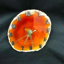 Agate Slice Quartz Clock Vintage from Indiana collection-Rust Orange  #6