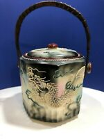 Vintage Japanese Dragonware Moriage Handled Biscuit Jar with Damaged Lid