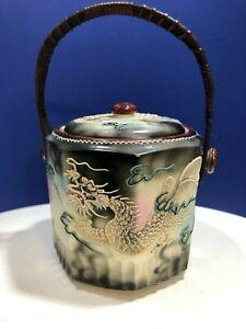 Vintage Japanese Dragonware Moriage Handled Biscuit Jar with Damaged Lid