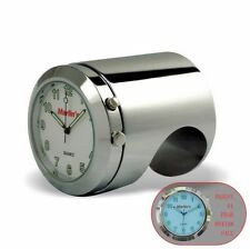 "Marlins Talon Motorcycle Handlebar Clock Push Button Backlit White 1"" or7/8"" Bar"