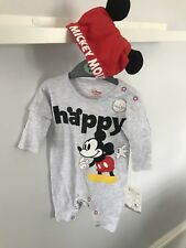 BNWT Baby Boys Primark Disney Mickey Mouse 'happy' Baby Grow sleepsuit With Hat