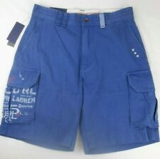 Polo Ralph Lauren Relaxed Fit Chino Cargo Shorts Mens 33 Yacht Blue Graphics D10