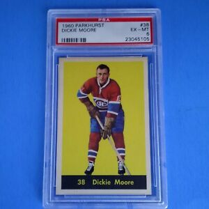 1960-61 PARKHURST VINTAGE HOCKEY # 38 DICKIE MOORE MONTREAL CANADIENS PSA 6 EXMT