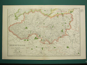 1920 COUNTY MAP of SHROPSHIRE SOUTH SHEET LUDLOW RAILWAYS PARKS SEAT etc