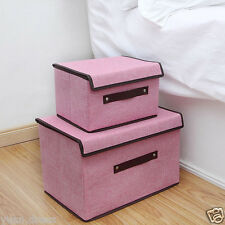 Pink Cotton Linen Foldable Clothing Storage Box with Lid Container Organizer