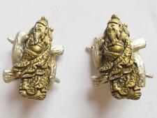 VINTAGE 1950'S COLCO GOLD TONE & SILVER TONE ASIAN EMPEROR FIGURAL EARRINGS