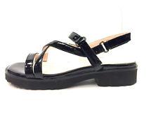 TARYN ROSE Black Patent Leather TAYLOR Strappy Slingback Sandals Sz7.5M