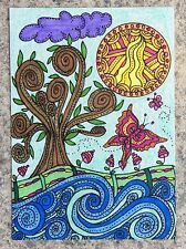 Tree Of Life 1 ACEO ORIGINAL Flowers Butterflies Waves Water Sea Sun Collectible