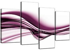 Large Modern Plum Canvas Wall Art Pictures 130cm Wide Prints Set 4032