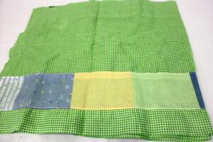 "ADORABLE SONOMA BABY BOY WINDOW VALANCE 81 X 17"" GREEN GINGHAM BLUE & YELLOW"
