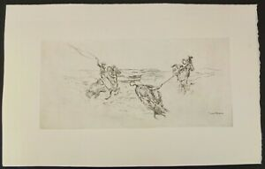 """Edward Borein """"Two Cowboys Roping A Steer"""" Etching Signed In The Print 11"""" X 18"""""""