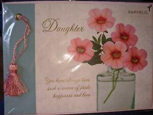 "Papyrus Happy Graduation Card ""Daughter"" $5.95 Pink Tassel Floral Congrats"