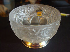 Vintage William Adams Frosted Lead Crystal Rose Pattern Bowl Silver Plated Base