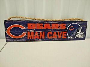 Chicago Bears Licensed 4 x16 Distressed Wood Man Cave Sign With Rope