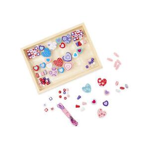 "Melissa & Doug 14175 Bead Set "" Heart "" 120 Beads Wooden Box New! #"