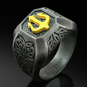 Mens Signet Ring Men Silver Ring Sterling Mens Jewelry Black Oxidized Ring Gift