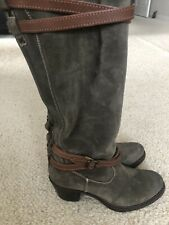 FRYE 76395 Jane Strappy Women's Knee High Olive Suede Buckle Boots Size 6.5