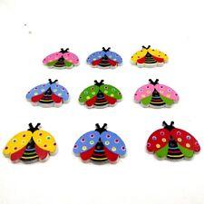 100pcs Cartoon Animal Ladybird Wooden Buttons Polka Dot Button for DIY Craft