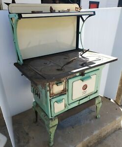 Antique Vintage Loth's Lady Woodburning Cook Stove, Green and White