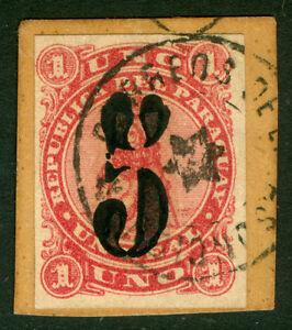 PARAGUAY 1878 LION - BLACK SURCH. handstamp  5c /1r rose Sc# 4 USED on piece  VF