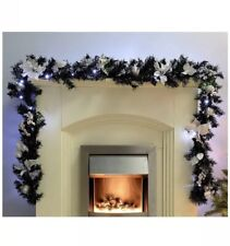 Deluxe Christmas Xmas Pre-Lit Garland 40 Ice White LED Lights 9ft Black Silver