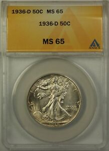 1936-D Walking Liberty Silver Half Dollar, ANACS MS-65