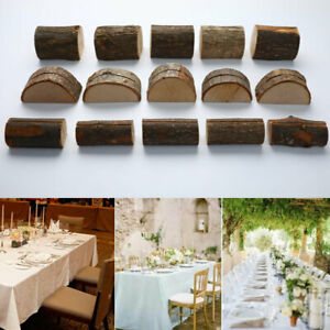 5pcs Wooden Wedding Name Place Card Holders Natural Folder Rustic Photo HoldWO