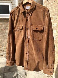 Zara Mens Brown Corduroy Shirt Overshirt Size Medium