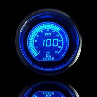 """Universal 2"""" 52mm Blue Red Oil Pressure Car Digital LED Light Gauge Meter Psi"""