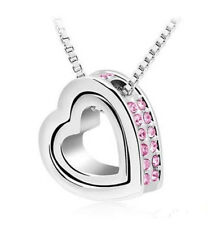 NEW WOMEN'S SILVER AND PINK CRYSTAL RHINESTONE HEART WITHIN A HEART NECKLACE