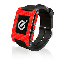 Red Carbon Fibre Skin by iCarbons for Pebble Smartwatch