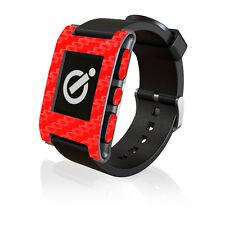 Fibra DI CARBONIO Rosso Pelle Da iCarbons per Pebble Smartwatch