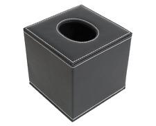 Square Toilet PU Leather Tissue Box Cover Holder (Black)
