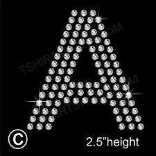 Letter A to Z Rhinestone/Diamanté Transfer Hotfix Iron on Motif Arial Font