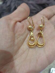 18ct 750 Yellow Gold Ladies Leverback Clip Hook Drop Earrings