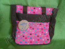 Pottery Barn PB Teen Kids Jet Set Luggage Bag Purse Tote Polka Dot Coffee Pink