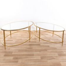 CONTEMPORARY GOLD METAL GLASS TOP OVAL NEST OF 2 SIDE COFFEE TABLE (CMT054)
